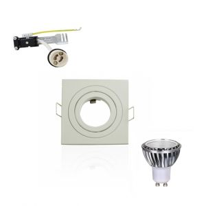 Superled Kit Spot LED GU10 5W (50W) Carré Blanc Chaud 2700K