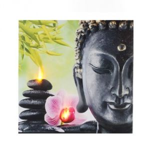 Atmosphera 114589C - Tableau zen lumineux à Led Bouddha et Orchidée (28 x 28 cm)