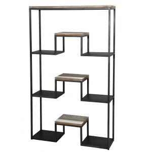 """Étagère """"XL"""" scandinave en bois acacia m if naturel, noir et blanc + pieds en métal noir L 100 cm"""