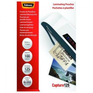 Fellowes 5307101 - Boîte de 100 pochettes Capture125, format 83x113mm, 2 x 125µ