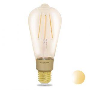 Marmitek GLOW XLI Ampoule Smart WiFi LED-E27-650 Lumen-6 W=40 W – ST64-Filament Rétro – 64x163 mm-Graduable par l'app-Compatible avec Alexa, Google Assistant-Aucun hub requis, Gold