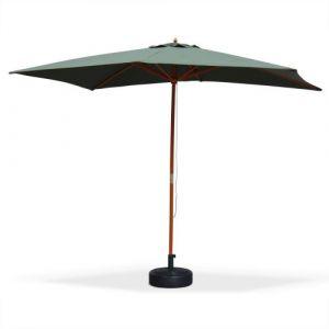 Alice's Garden Parasol droit rectangulaire en bois 2x3m - Cabourg Vert bouteille - mât central en bois, système d'ouverture manuelle, poulie