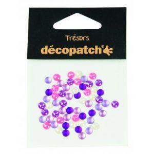 decopatch BJ001O - Sachet de 60 cabochons Ø 5 mm, coloris rose/violet
