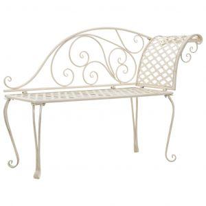 VidaXL Chaise longue de jardin Métal Antique Blanc Motif de rouleau