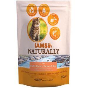 IAMS Naturally Croquette Saumon Atlantique Nord & Riz - Toutes races - 270 g - Pour chat adulte