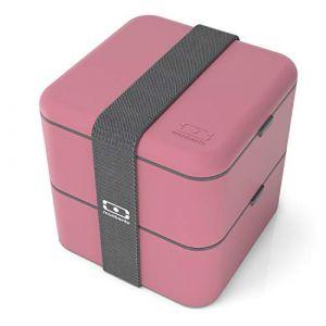 monbento MB Square Blush bento Box Rose - Lunch Box hermétique 2 étages - Boîte Repas idéale pour Le Travail/école - sans BPA - Durable et sûre