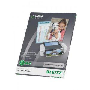 Leitz 100 pochettes de plastification - 80 microns iLAM A3