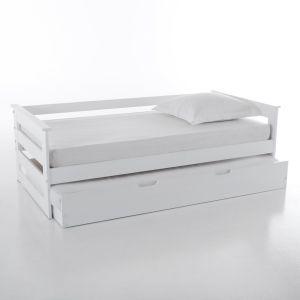 Lit banquette gigogne en pin, ELLIS Blanc Taille 90x190 cm