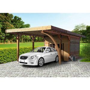 Solid Carport avec remise bois Cust / toit plat / 14.58 m²