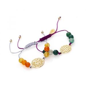Panduro Kit 2 Bracelets Automne doré - Kit 2 Bracelets - Il contient : fil nylon, pierres semi-précieuses (agathe), perles en acrylique - Unisexe