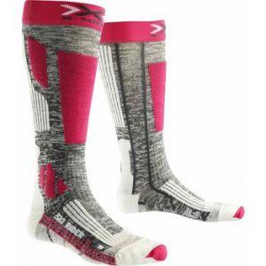 X-Socks Rider 2.0 Lady Chaussettes de Ski Femme, Grey Melange/Fuchsia, FR : S (Taille Fabricant : 35-36)