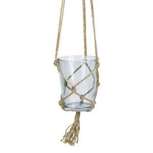 Suspension pot en verre - Avec corde en chanvre - Ø 13 x 16 cm - Bleu ciel