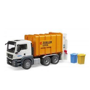 Bruder Toys 3762 - Camion Poubelle Man TGS Orange avec 2 Poubelles
