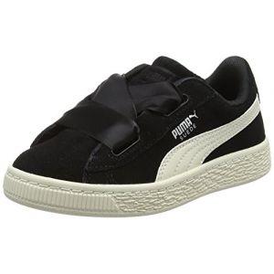 Puma Suede Heart Jewel PS, Sneakers Basses Fille, Noir Black-Whisper White, 33 EU