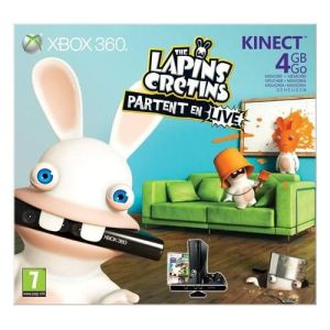 Microsoft Xbox 360 Slim 4 Go Pack Kinect + The Lapins Crétins Partent en Live
