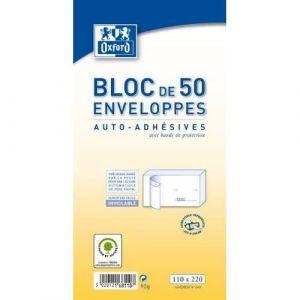 Oxford 100100225 - Bloc de 50 enveloppes pré-casées 110x220 (DL) 80g/m², auto-adhésives