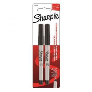 Sharpie Lot de 2 marqueurs permanents - Pointe ultrafine - Noir