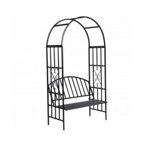 VidaXL 40545 - Gloriette de jardin noire avec banc