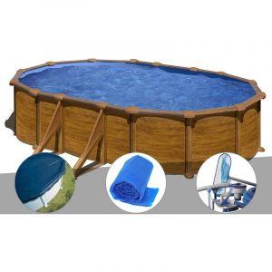 Gre Kit piscine acier aspect bois Mauritius ovale 5,27 x 3,27 x 1,32 m + Bâche hiver + Bâche à bulles + Kit d'entretien