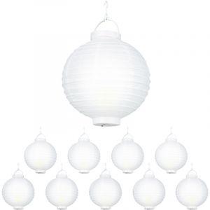 Relaxdays Lampion chinois LED abat-jour papier lanterne boule 20 cm rond décoration set de 10 à piles, blanc