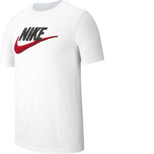 Nike M NSW Tee Brand Mark T- T-Shirt Homme, Blanc (White/Black/University Red 100), FR : M (Taille Fabricant : M)