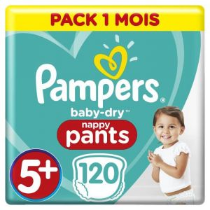 Pampers BABY-DRY PANTS Taille 5+ - 120 couches - Pack 1 mois