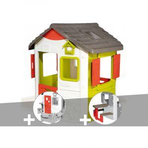 Smoby Cabane enfant Neo Jura Lodge + Porte maison + Table pique-nique
