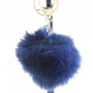 Shopping-et-Mode - Porte-clés bijou de sac pompon bleu foncé marine en fourrure synthétique - Bleu marine, Synthétique