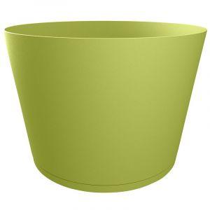 Grosfillex Pot de fleur design Tokyo 36 Diam.36 H.26 - Vert - Extérieur - Soucoupe amovible intégrée