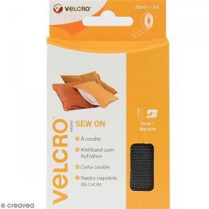 Velcro Ruban pour tissus - A coudre - Noir - 20 mm x 1 m