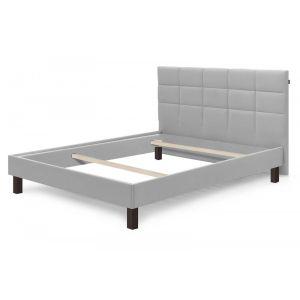 Bobochic Structure de lit CARRE pieds carrés bois wengé 140 x 190 cm Gris