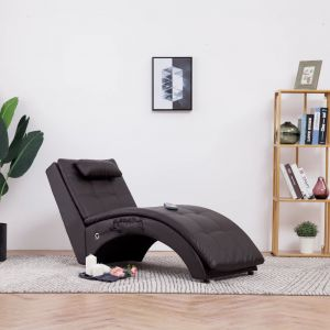 VidaXL Chaise longue de massage avec oreiller Marron Similicuir