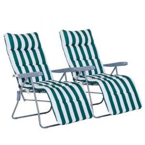 Outsunny Lot de 2 chaise longue bain de soleil adjustable pliable transat lit de jardin en acier vert + blanc neuf