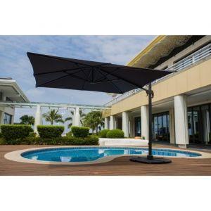 Parasol déporté 3x4 m en aluminium avec toile en polyester 250 g - Gris