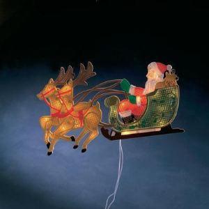 Konstsmide Père Noël et ses rennes lumineux pour fenêtre (28 x 45 cm)