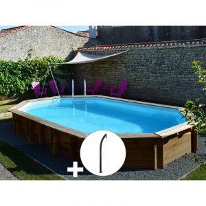 Sunbay Kit piscine bois Safran 6,37 x 4,12 x 1,33 m + Douche