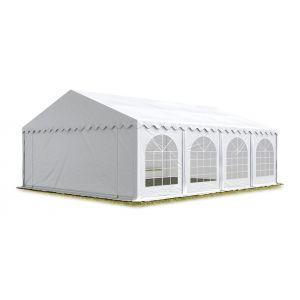 Intent24 TOOLPORT Tente Barnum de Réception 6x8 m ignifugee PREMIUM Bâches Amovibles PVC 500 g/m² blanc Cadre de Sol Jardin.FR
