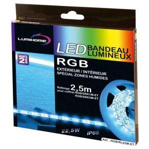 Lumihome Rouleau strip LED silicone - 2,5 m - RGB multicouleur