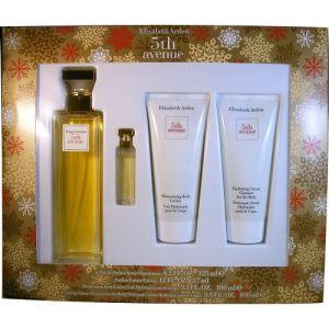 Elizabeth Arden 5th avenue - Coffret eau de parfum, miniature, lait hydratant et nettoyant crème