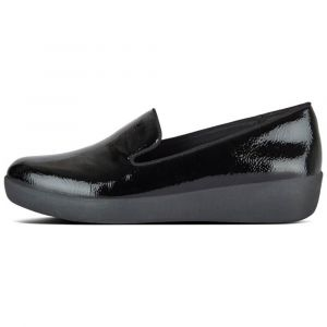 FitFlop Mocassins AUDREY SMOKING SLIPPERS CRINKLE PATENT Noir - Taille 36,37,38,39,40,41