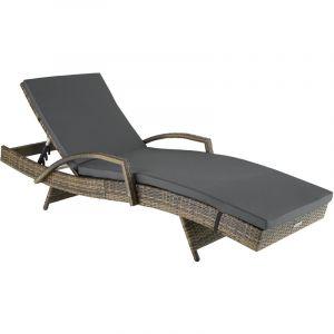 TecTake Bain de soleil OCEANE 5 positions - chaise longue, transat bain de soleil, transat jardin - marron naturel