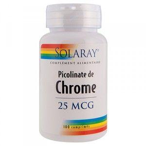 Solaray Picolinate de Chrome 25mcg 100 comprimés