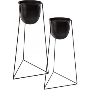 """Lot de 2 Cac Pots sur Pied """"Living"""" 60cm Noir Prix"""