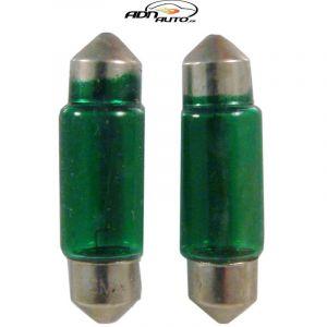 2 Ampoules Navettes - 12V/5W - T11 - Vert - C5W