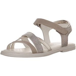 Geox Karly D, Sandales Bout Ouvert Fille, Beige (Beige/Gold), 39 EU