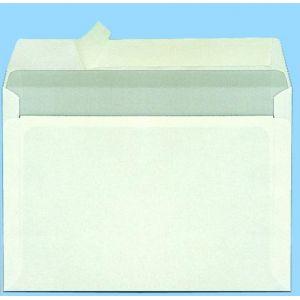 Clairefontaine 2542C - Etui de 50 enveloppes Adhéclair blanches, fond gris, adhésive avec bande, 90 g/m², C5