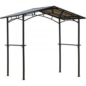 Outsunny Pavillon Jardin - abri Barbecue - Steakhouse 2 étagères - Toit de Barbecue - dim. 2,46L x 1,49l x 2,30H m - alu. métal Noir Toit Polycarbonate