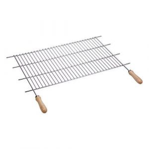 Sauvic 02758 - Grille de barbecue inoxydable avec manches bois 80 x 40 cm