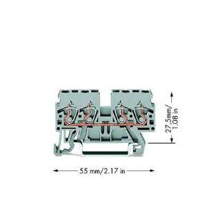 Wago 870-831 - Borne de passage pour 4 conducteurs 100 pc(s)