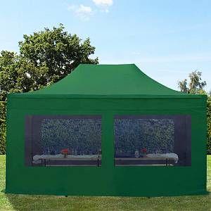 Intent24 Tente pliante tente pliable 3x4,5m - avec fenêtre panoramique PROFESSIONAL toit 100% imperméable tente de jardin pavillon vert fonce.FR